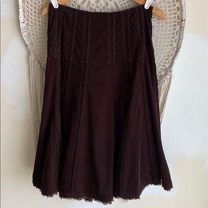 CAbi boho Brown Corduroy midi Skirt. size 0